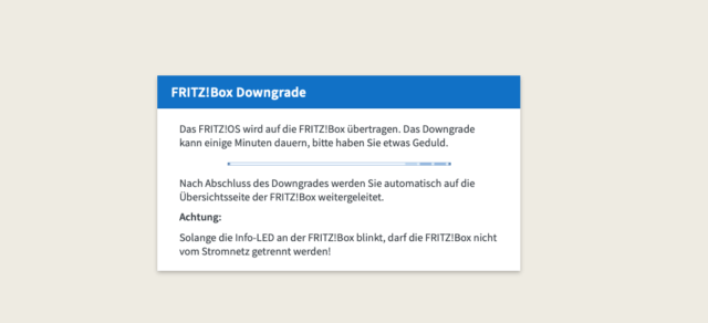 FritzBox Downgrade