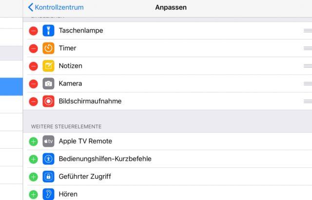 iOS Kontrollzentrum anpassen