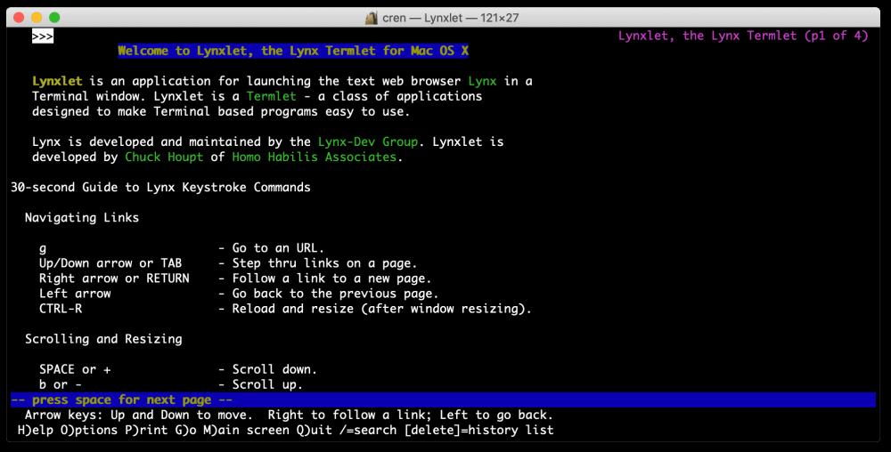 """Lynx ist eine moderne Variante des Uralt-Browsers, hier als Mac-Version """"Lynxlet""""."""