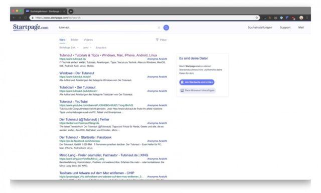 Startpage statt Google