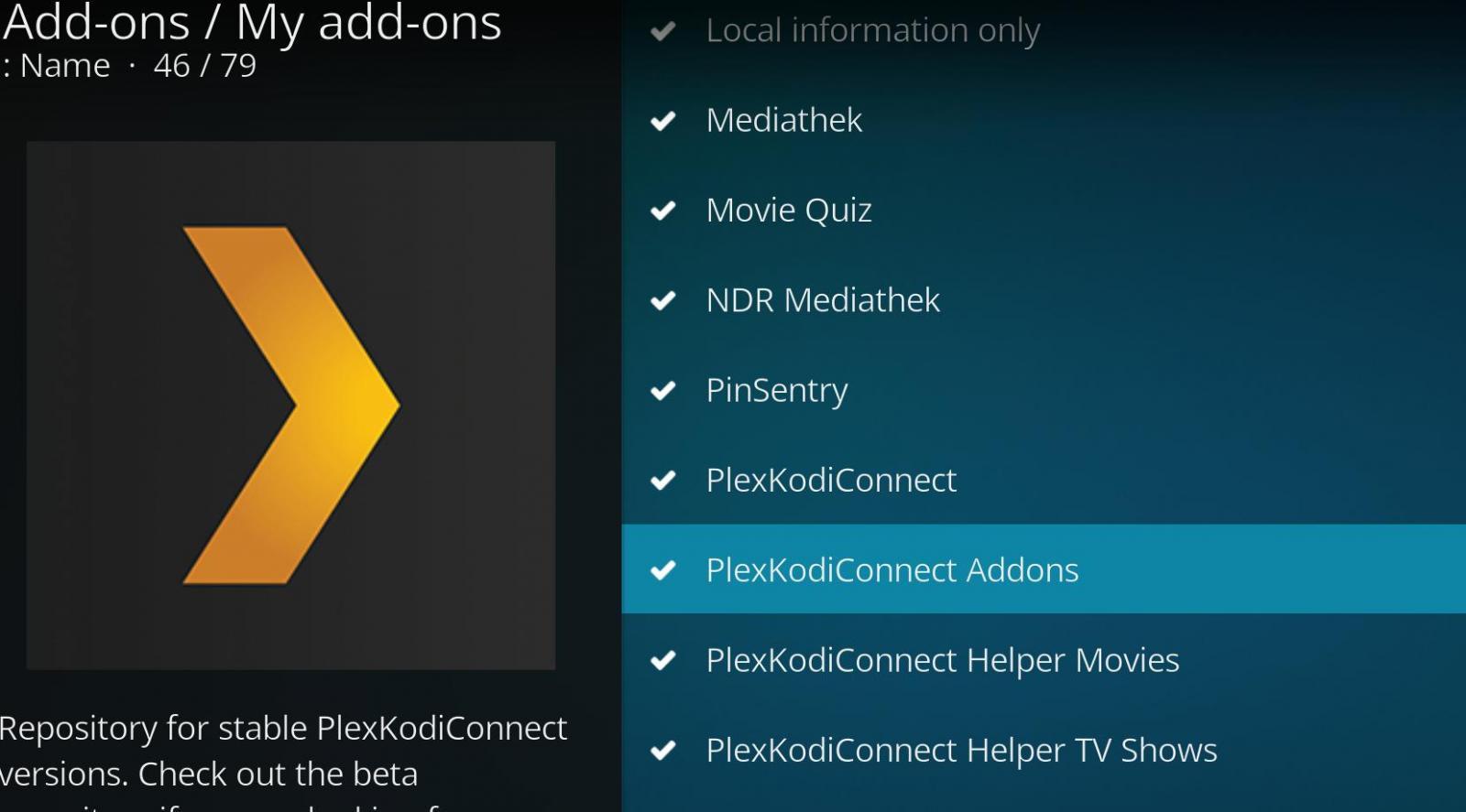 PlexKodiConnect Addons ist NICHT der Eintrag der Addons, sondern des Repositories. Prüft doch mal.