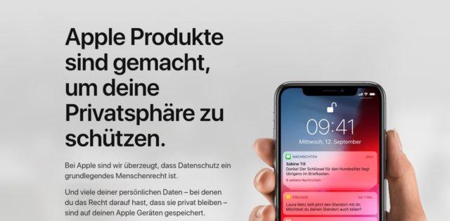 Apple iOS Datenschutz