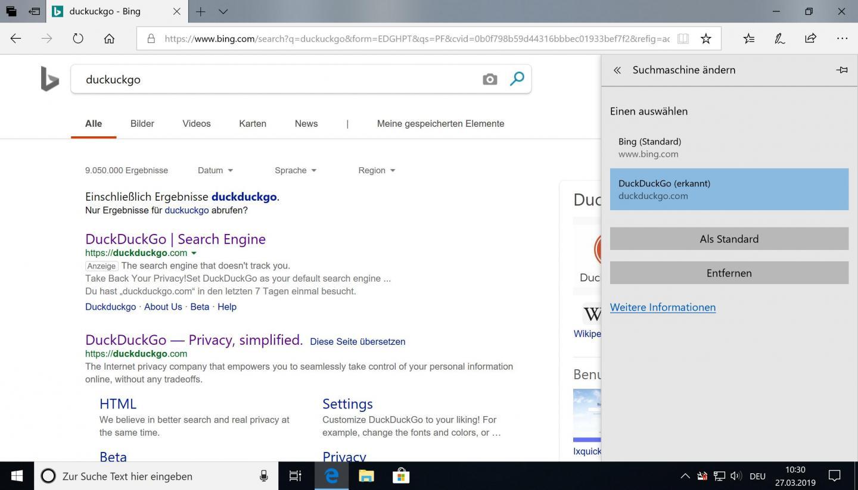 Die Standard-Suchmaschine von Edge lässt sich kinderleicht ändern.