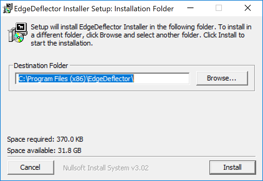 Nach der Installation ist EdgeDeflector unsichtbar im Hintergrund aktiv.