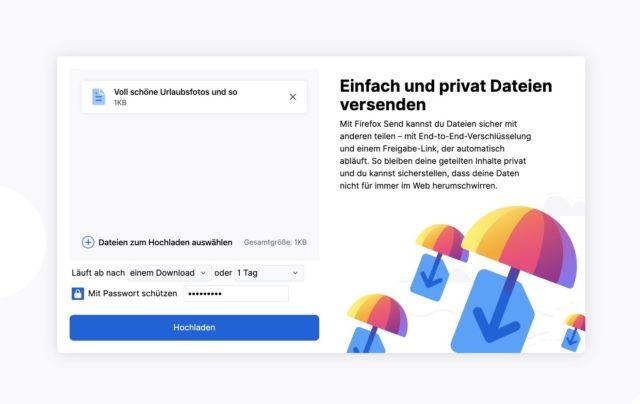 Firefox Send Hochladen