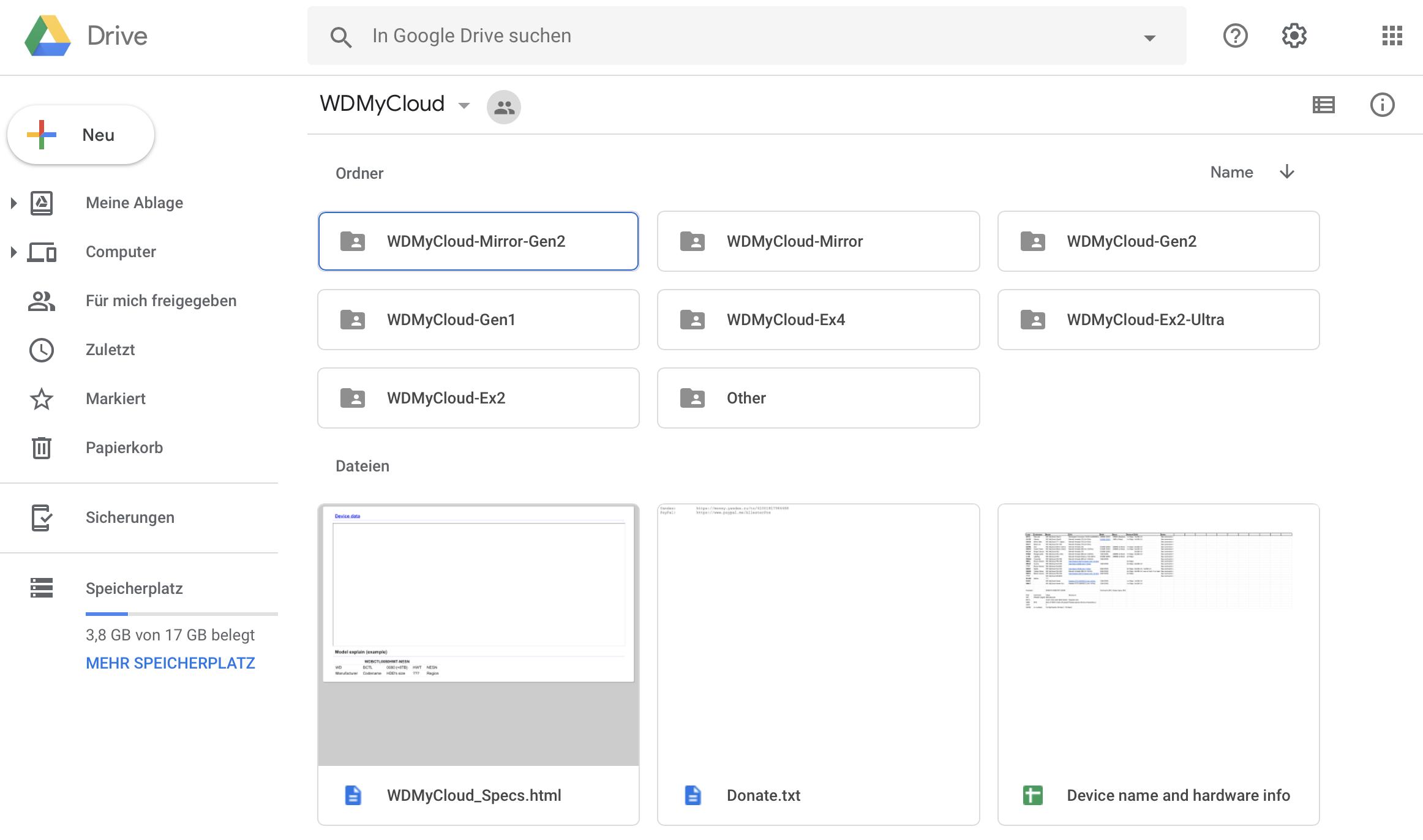 Im Google Drive des Entwicklers findet Ihr Hacks für eine Vielzahl von MyCloud-Modellen.