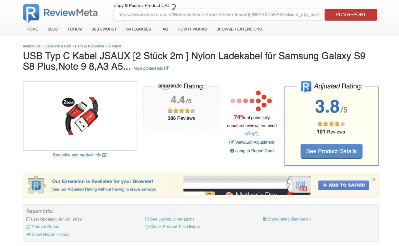 """ReviewMeta gibt """"bereinigte"""" Sternewertungen aus. (Bild: Screenshot ReviewMeta.com)"""