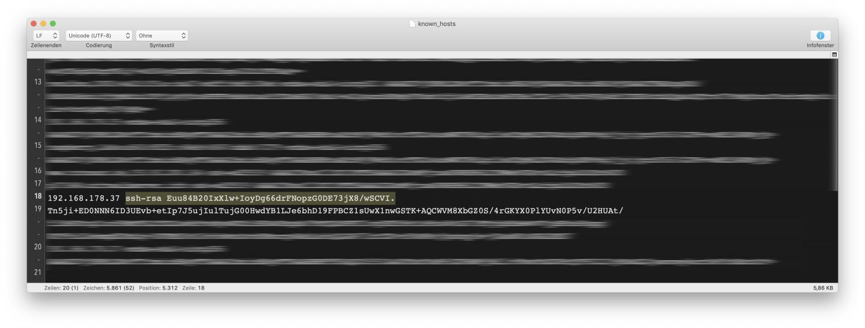 Falls das Terminal wegen des RSA-Keys meckert, müsst Ihr den in den Known Hosts aktualisieren.