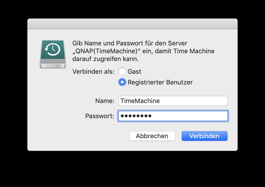 Gebt Benutzername und Passwort ein.