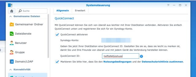 Synology QuickConnect aktivieren