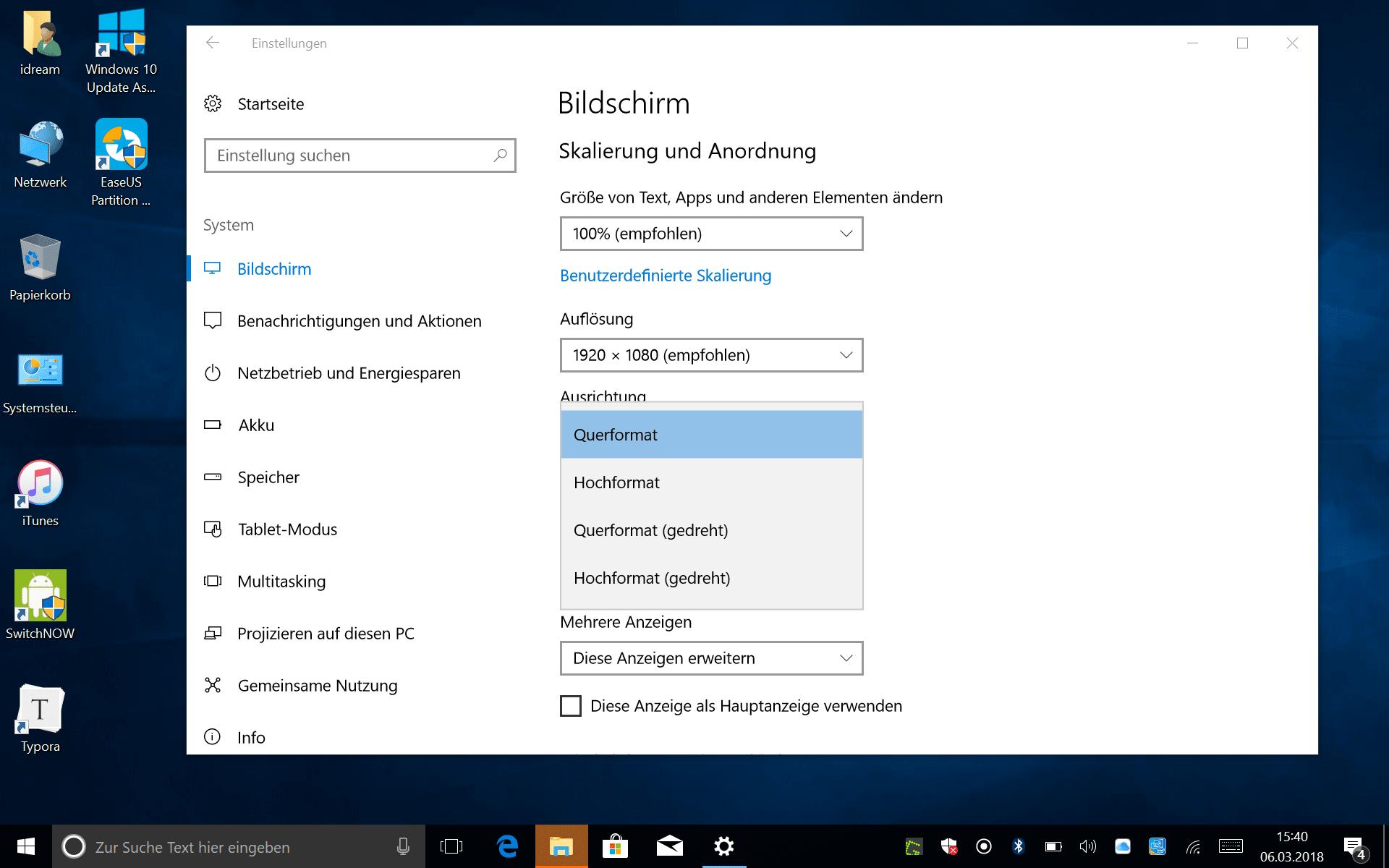 Bildschirmdrehung unter Windows ist keine Raketenwissenschaft.