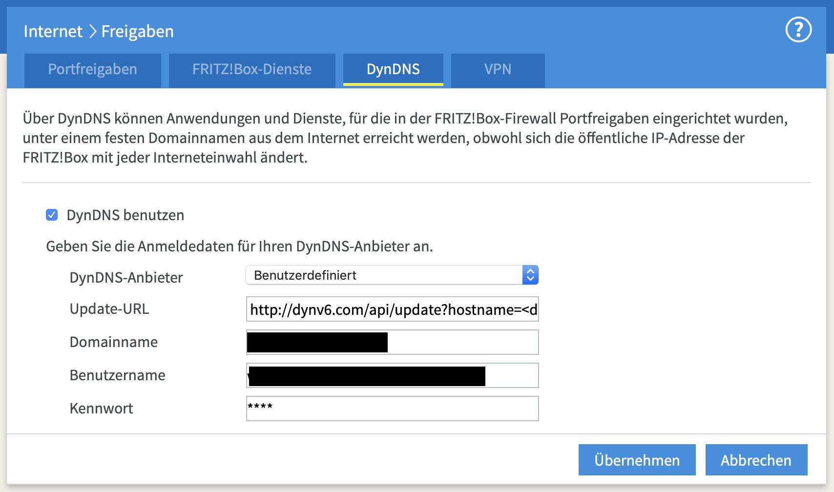Gebt die Zugangsdaten des dynv6-DynDNS in der FritzBox ein.