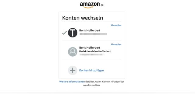 Amazon Business Konto wechseln