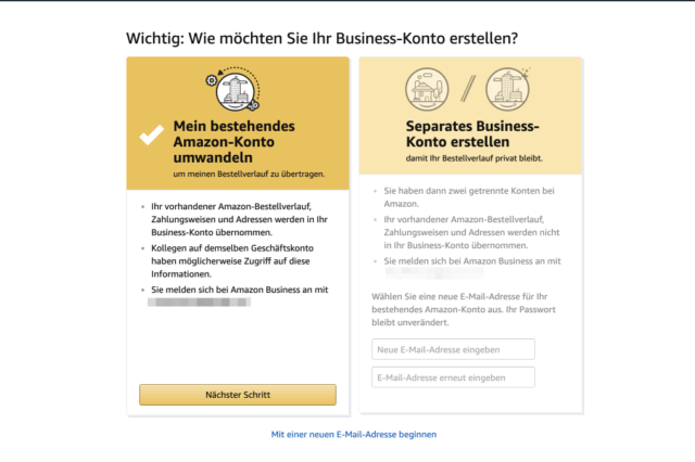 Amazon Business umwandeln oder separat