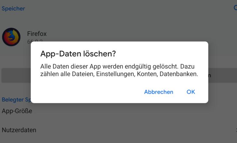 Android Apps zuruecksetzen
