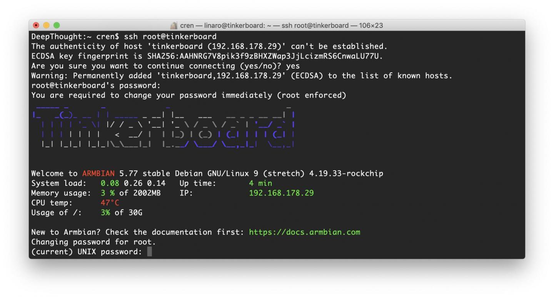 Nach dem Boot könnt Ihr Euch per SSH auf dem Armbian-Tinkerboard einloggen.