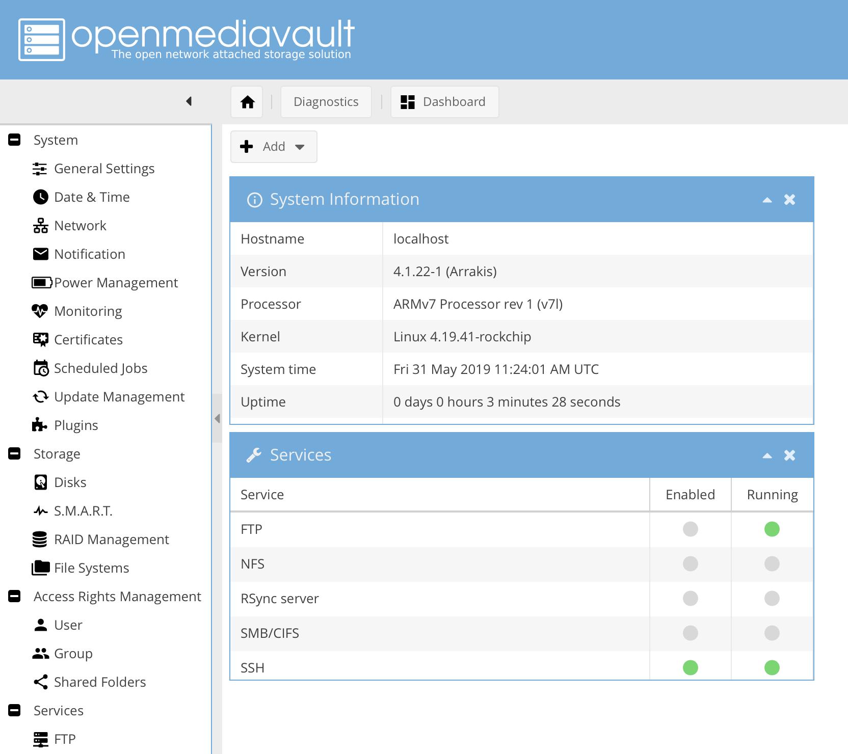 Fertig: OpenMediaVault läuft auf dem Tinker Board.
