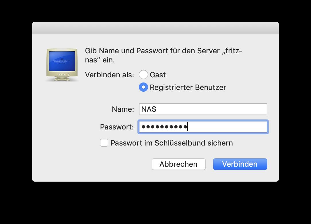 Fertig: Ihr könnt die FritzNAS mit dem Mac verbinden und als Austauschordner nutzen.