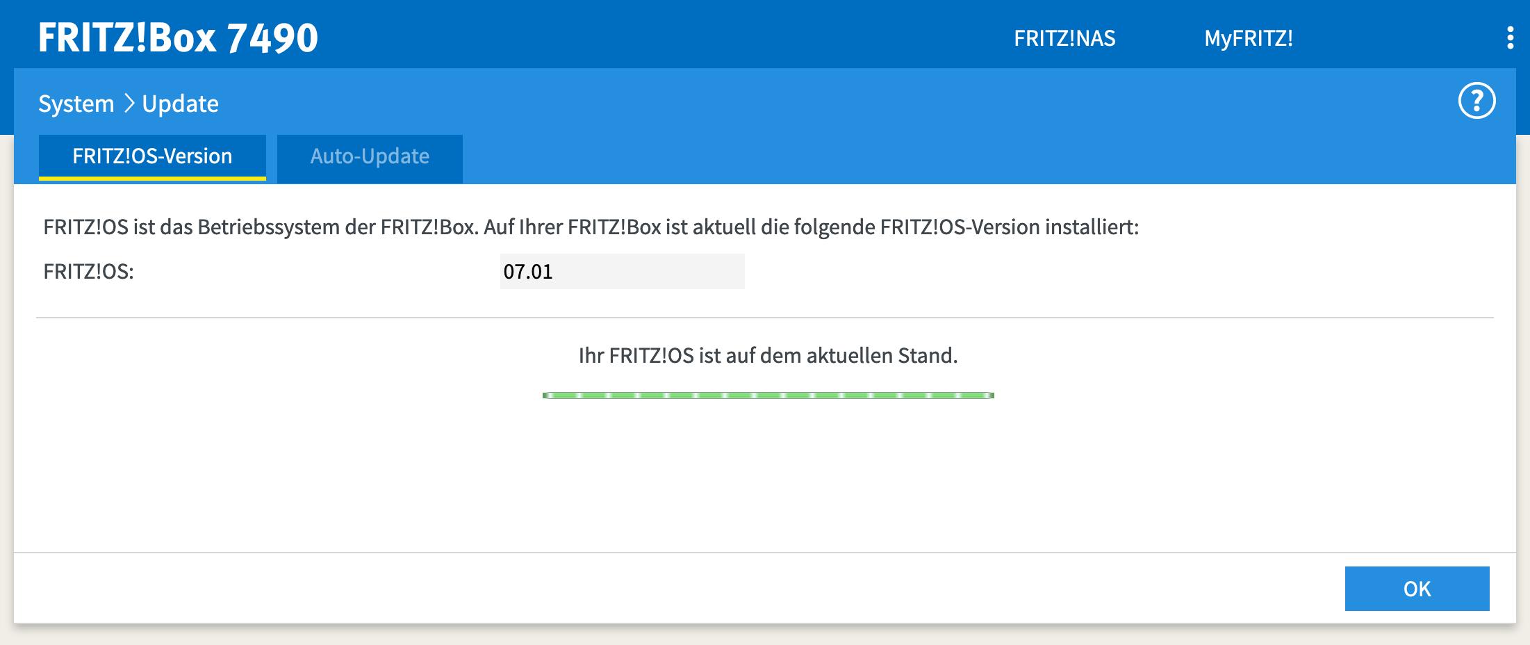 Wichtig ist, dass die FritzBox FritzOS 7 unterstützt.
