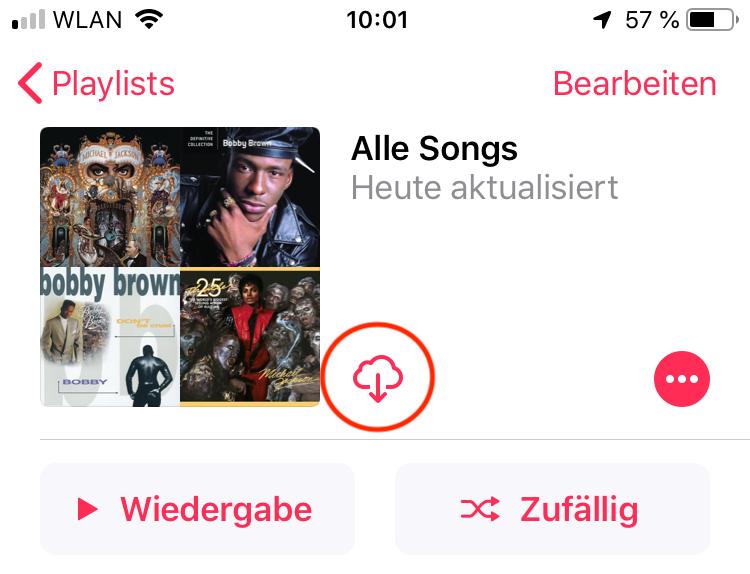 Mit einem Tipp könnt Ihr jetzt alle Songs herunterladen.