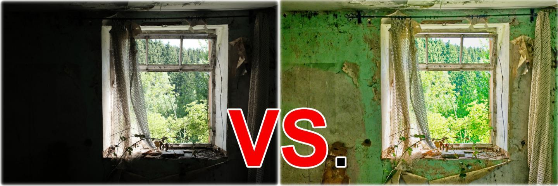 Das Teaserbild: Links, wie es als JPEG aus der Kamera kam. Rechts nach der RAW-Bearbeitung.