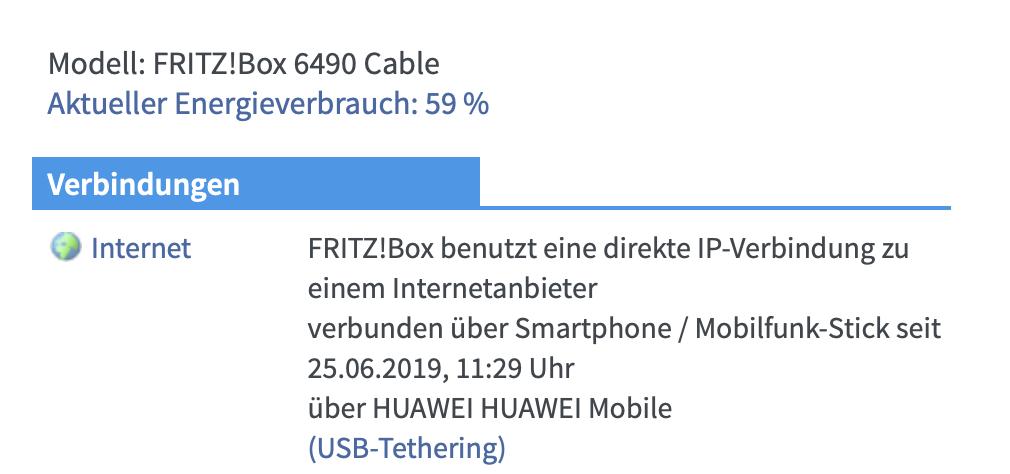 Die FritzBox zeigt an, wenn die Verbindung steht.