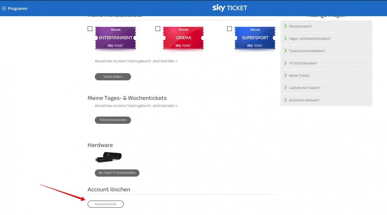 Sky Ticket Account Löschen