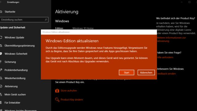 Windows 10 Edition aktualisieren