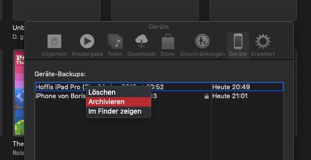 iOS Backup archivieren