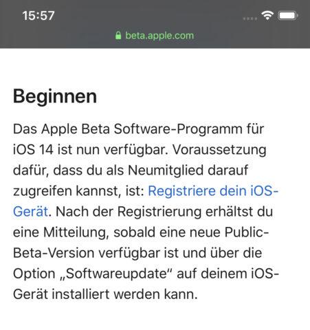 iOS Beta registrieren