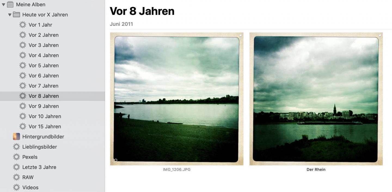 Fertig: Das Intelligente Album zeigt die Bilder vor X Jahren an.