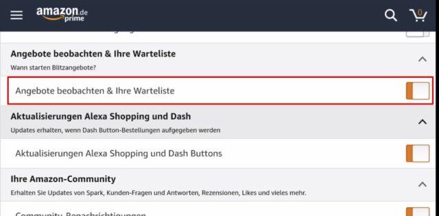 Amazon App Angebote beobachten