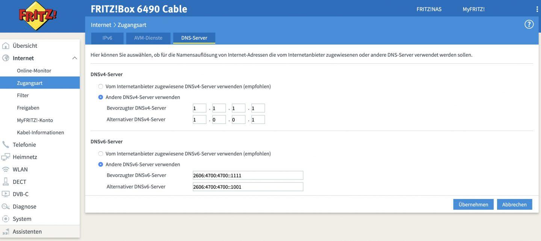 Ihr könnt die neuen DNS-Server bequem in der Fritzbox und anderen Routern hinterlegen.