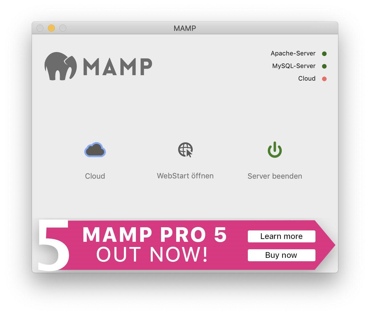 MAMP startet mit einem Klick alle für einen Webserver nötigen Prozesse.
