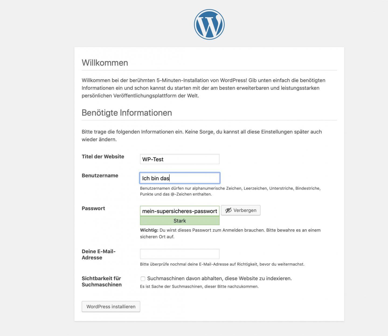 Name vergeben, Benutzer anlegen, fertig ist die WordPress-Testumgebung.
