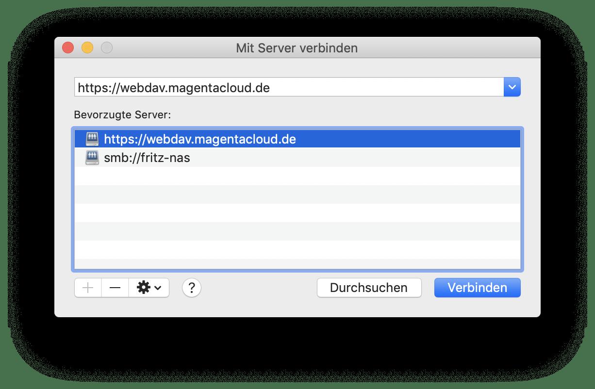 Ihr müsst Euch zunächst mit dem WebDAV-Ordner verbinden.