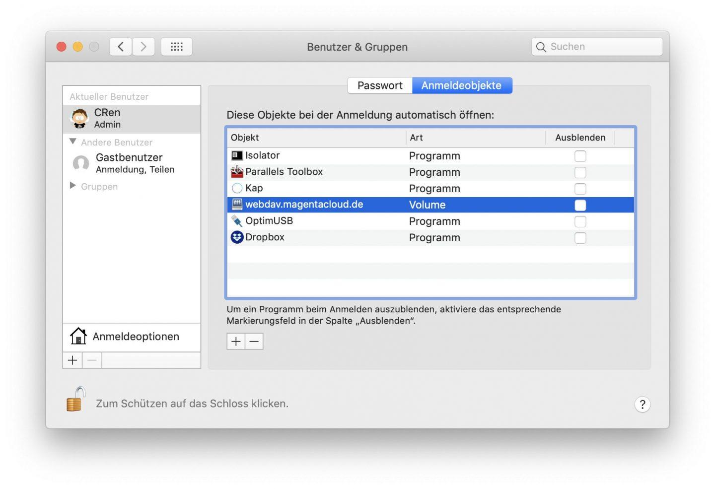 Schiebt anschließend den WebDAV-Ordner aus dem Finder in die Anmeldeobjekte.