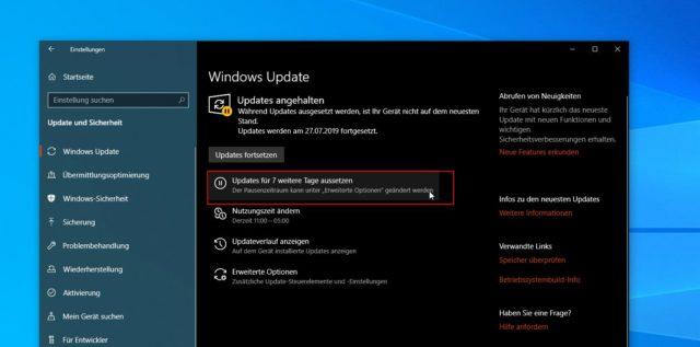 Windows-Updates pausieren