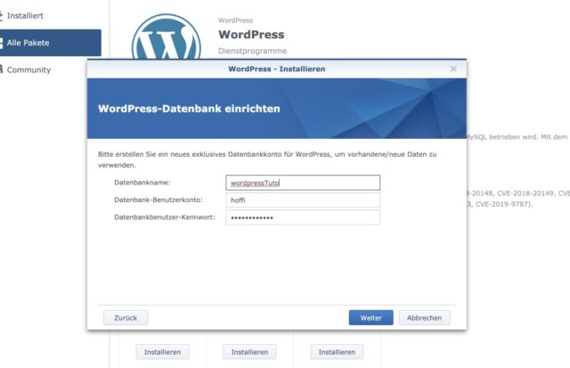 WordPress-Datenbank einrichten Synology