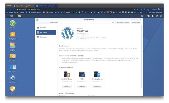 WordPress DiskStation installieren
