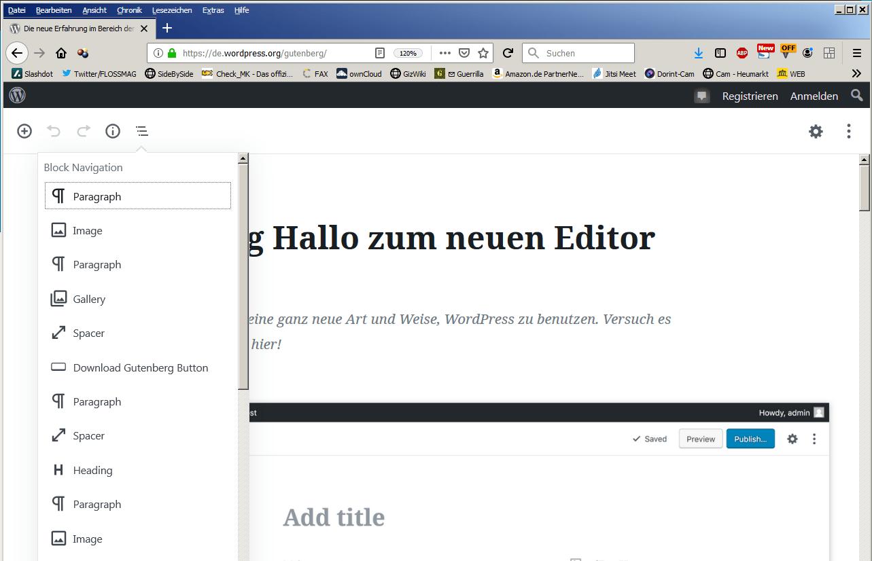 screenshot von gutenberg