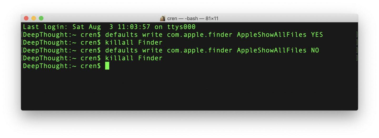 Ihr könnt die versteckten Dateien dauerhaft per Terminal anzeigen.