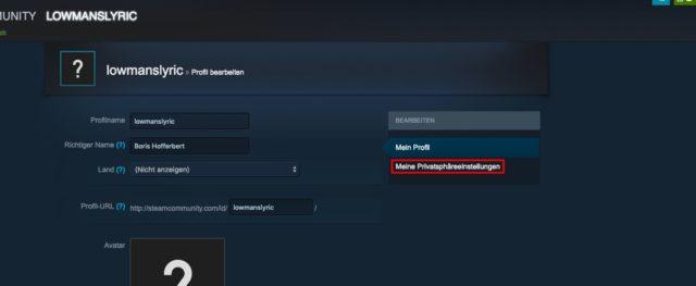 Steam Privatsphäre-Einstellungen