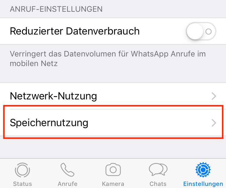 """Unter """"Speichernutzung"""" könnt Ihr WhatsApp-Speicher freiräumen."""