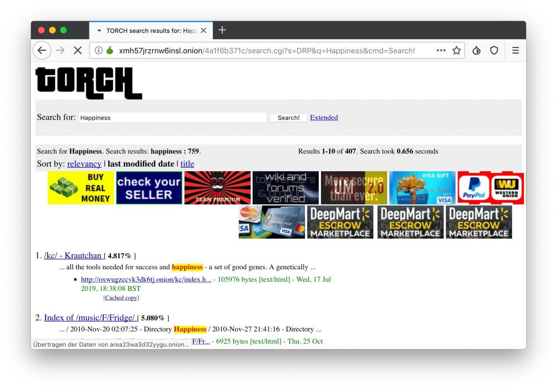 Touch ist der Suchmaschinen-Klassiker im Darknet.