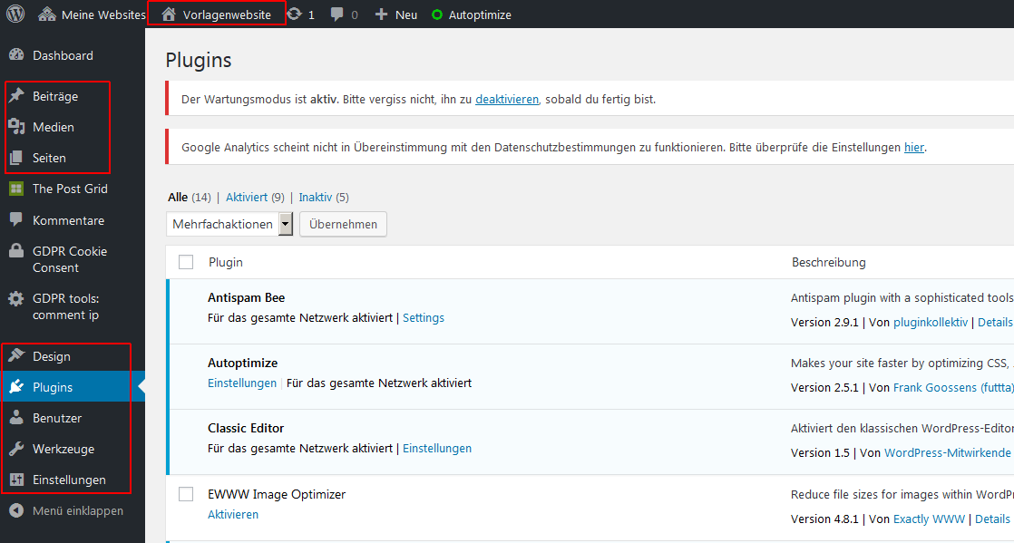 wordpress multisite screenshot