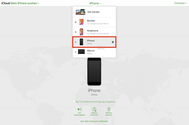 Ihr könnt Euer altes iPhone aus der Ferne freigeben.