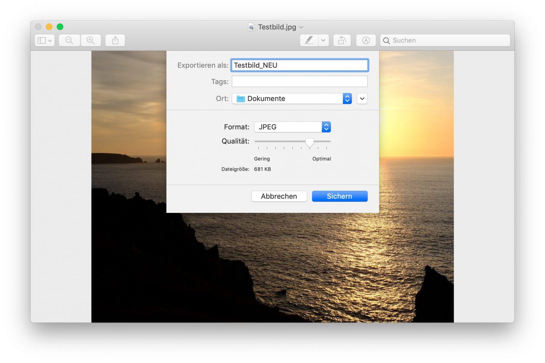 Zusätzliche Kompression reduziert die Foto-Dateigröße weiter.