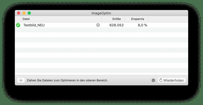 Ein Image-Optimizer holt noch das letzte Quäntchen Dateigröße heraus.