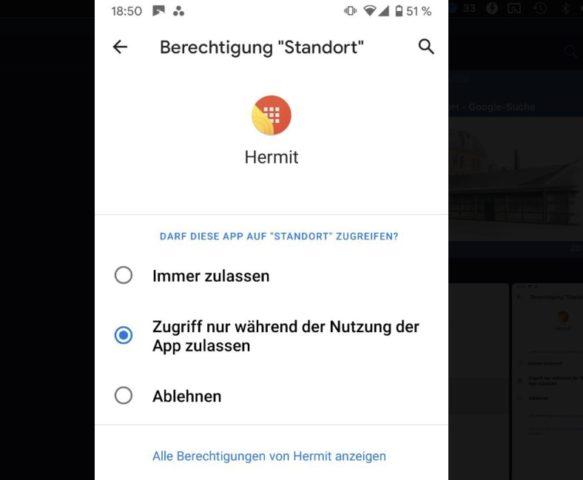 Standort nur bei Nutzung abrufen Android 10